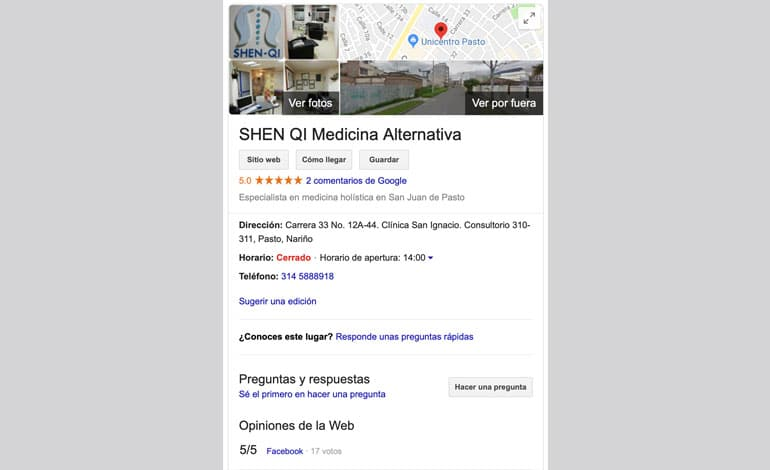 Google My Business para doctor