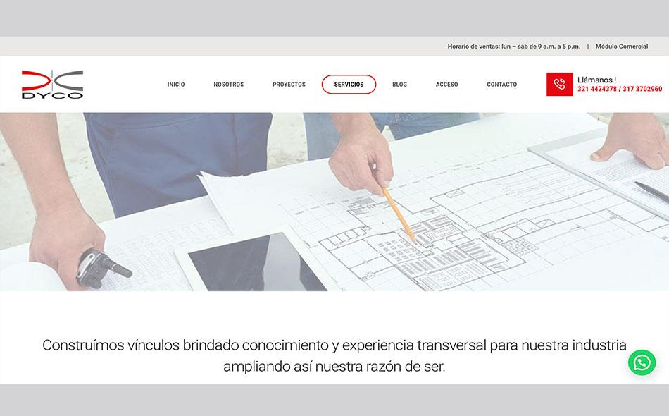 Parte de la página web para Dyco